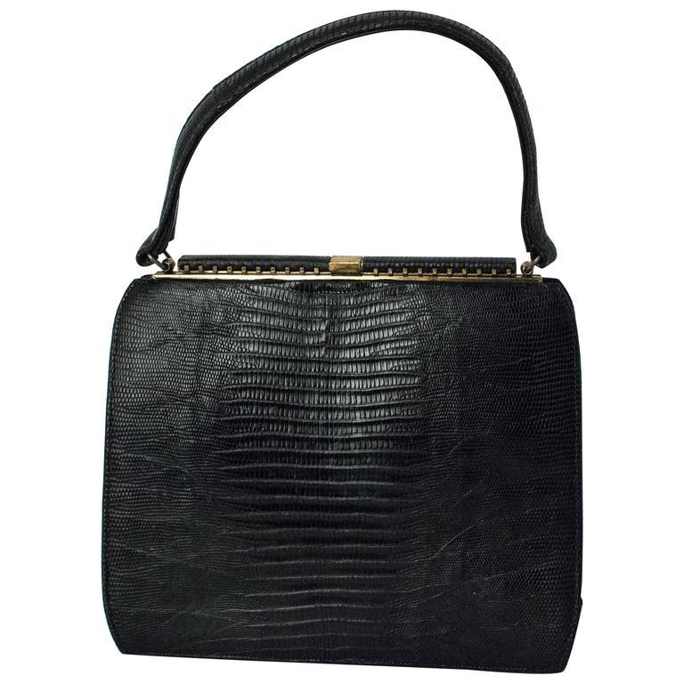 50s Roos Atkins Black Lizard Handbag