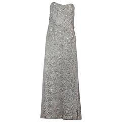 Silver Carolina Herrera Beaded Lace Gown