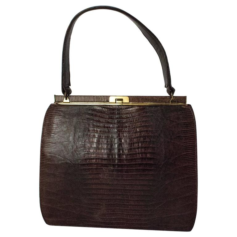 50s Roos Atkins Brown Lizard Handbag