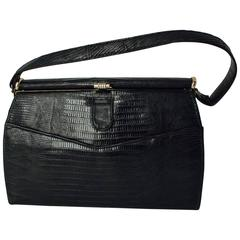 50s Black Lizard Handbag