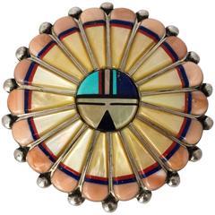 60s Sterling Silver Zuni Brooch Pendant