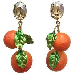 Dolce & Gabbana Orange Drop Earrings Crystal Gold Tone Resin