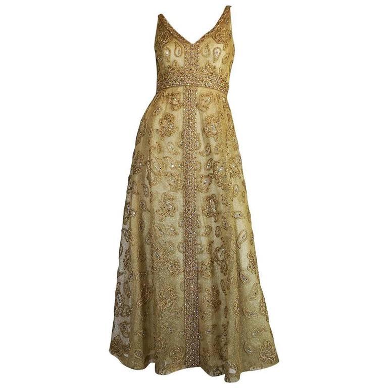 1960s 3D Braid & Crystal on Gold Net Malcolm Starr Dress