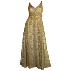 1960s 3D Braid & Crystal on Gold Net Malcolm Starr Dress