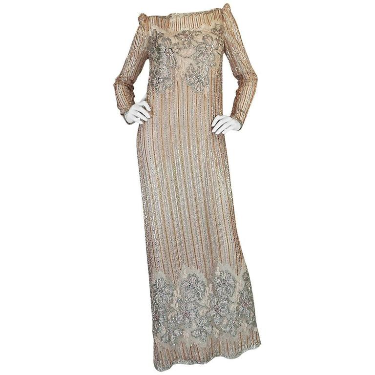 1980s Fernando Pena Gold & Pink Bead Sequin & Net Dress For Sale