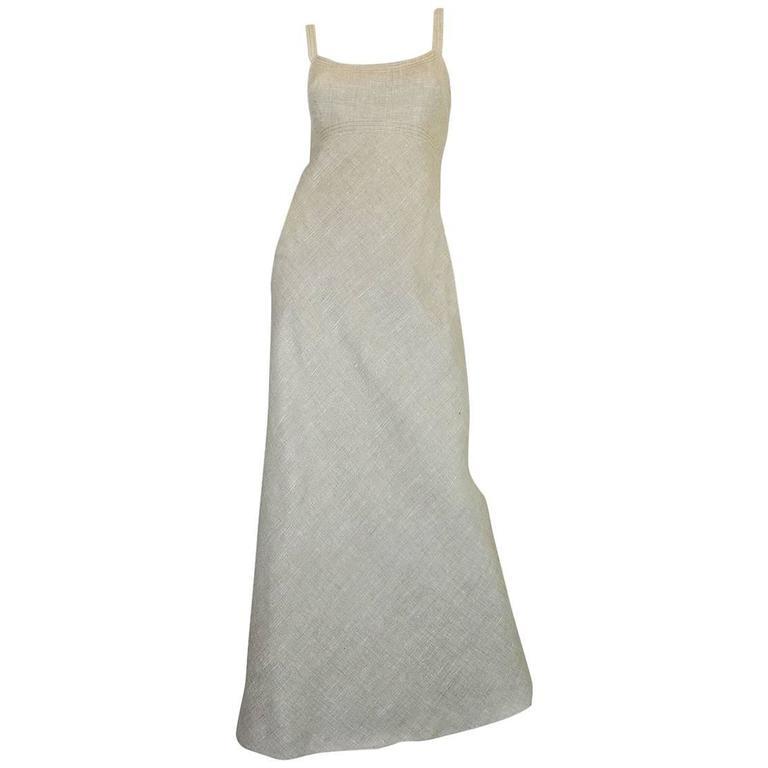 Late 1970s Pauline Trigere Heavy Linen Sculptural Dress 1