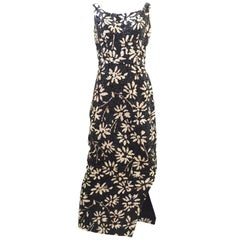 1960s Black and white floral sequin wiggle dress