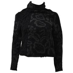 Yohji Yamamoto Black Floral High Neck Cropped Jumper with Zip fastenings