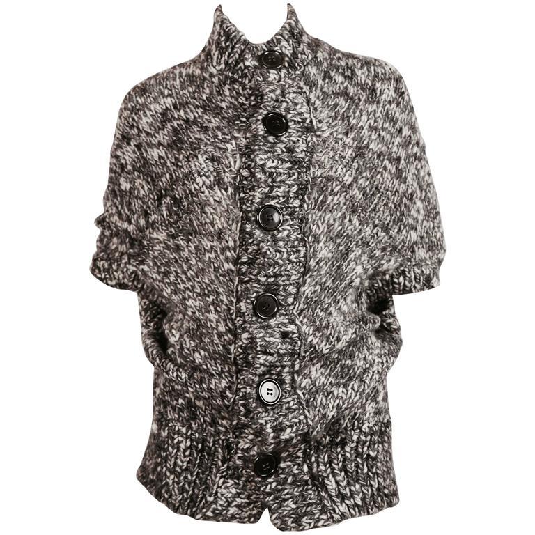 JUNYA WATANABE grey marled knit poncho sweater