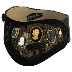 Paula K Black and Gold Lace, Leather and Suede Cameo Belt
