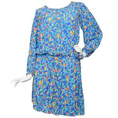 90s Yves Saint Laurent Rive Gauche Blue Silk Day Dress