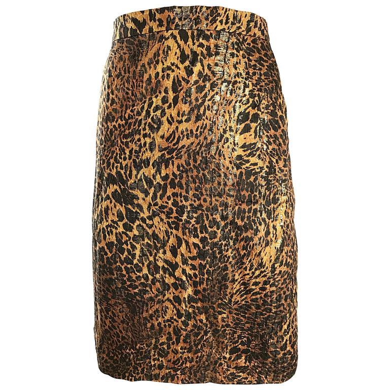 Vintage Escada Margaretha Ley Silk Leopard Print   Gold High Waist ...