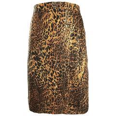 Vintage Escada Margaretha Ley Silk Leopard Print + Gold High Waist Pencil Skirt