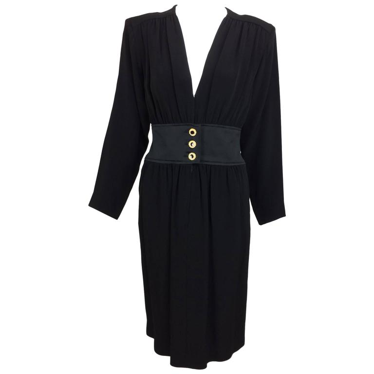 Vintage Yves St Laurent chic black crepe and satin cocktail dress 1990s unworn