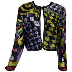 Vintage Naeem Khan heavily abstract beaded cropped jacket 1980s