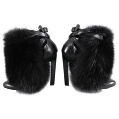 Brian Atwood Majoy Black Fur and Leather Boots / Heels