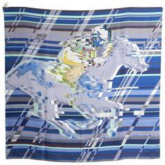 Hermes Photo Finish silk twill 90cm Scarf - Blue Race Horse