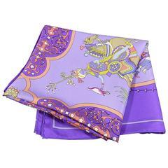 Hermes Poesie Persane - Violet Purple silk twill 90 cm scarf