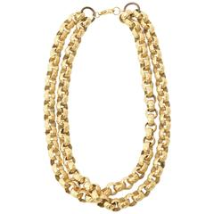 Chunky Gold Plated Double Link/ Chain Necklace