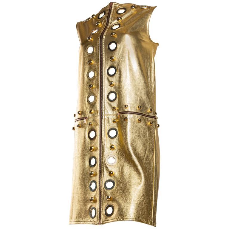 Studded Gold Leather Mod Zipper Dress