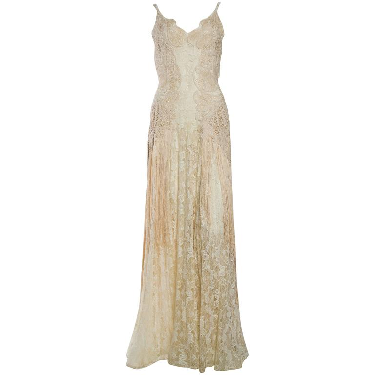 1930s Sheer Silk Lace Gown with Victorian Lace Fringe For Sale at ...