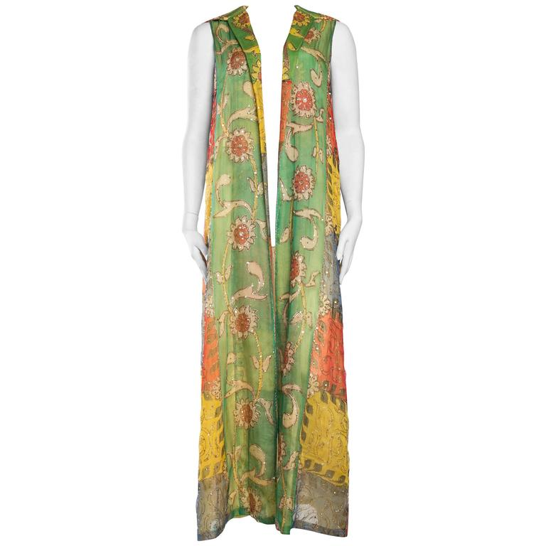 Hand Painted Silk Maxi Vest with Gold Embroidery