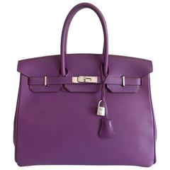 Hermes Purple Birkin 35 in Ultraviolet, Swift leather and Palladium