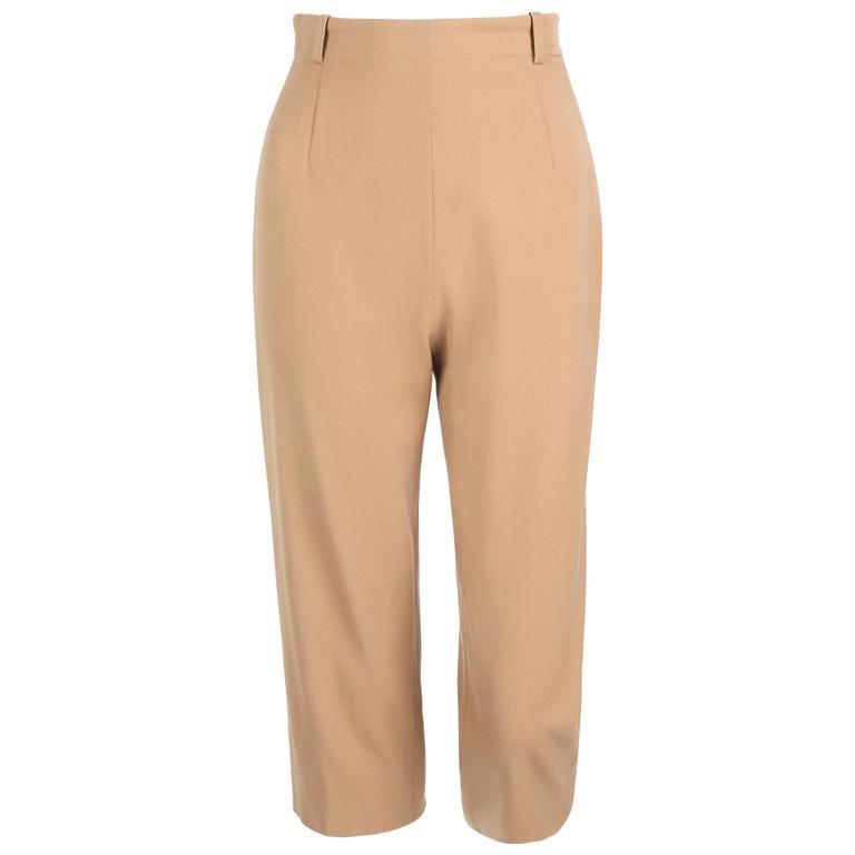 HERMES c.1990's Classic High Waisted Wool Cropped Capri Pants