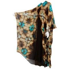 1972 Halston Couture Graphic Tie-Dye Print Silk Bohemian Maxi Dress Caftan