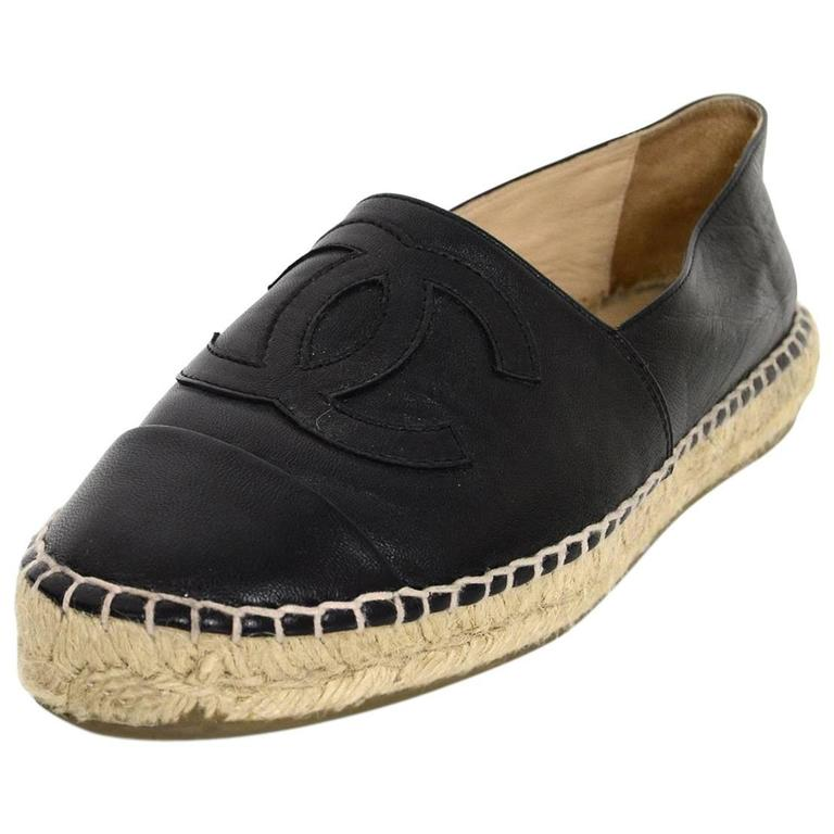 Chanel 2015 Black Lambskin Leather CC Espadrilles sz 37 For Sale