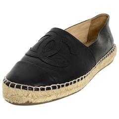 Chanel 2015 Black Lambskin Leather CC Espadrilles sz 37