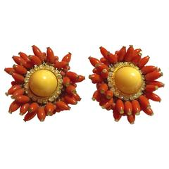 1960s Fabulous DeLillo Faux Coral and Diamond Clipback Earrings