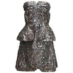 Spring 2013 Fendi Silvered Sequins Bustier Mini Dress by Karl Lagerfeld