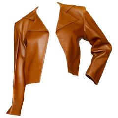 80s Yves Saint Laurent Brandy Colored Cropped Leather Jacket