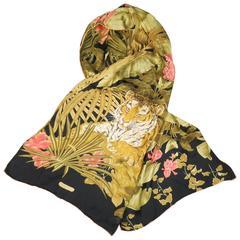 SALVATORE FERRAGAMO Black Green & Gold Tropical Floral Tiger Print Silk Scarf