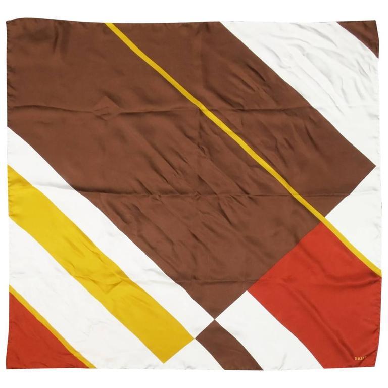 Vintage BALLY Brown Cream & Gold Color Block Silk Scarf