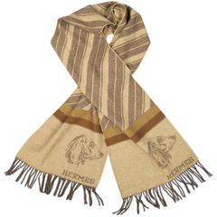 Vintage HERMES Brown & Beige Wool / Cashmere Striped Dachshund Dog Scarf