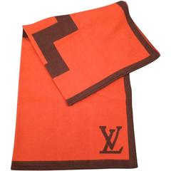 LOUIS VUITTON Orange & Brown Wool / Cashmere Print Karakoram Blanket