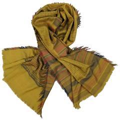 0f8864762ad9 KENZO Mustard Olive Navy  amp  Burgundy Logo Wool Scarf