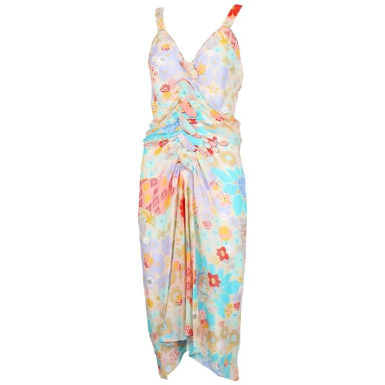 John Galliano Multi-Colored Floral Print Bias Cut Cocktail Dress W/Ruching