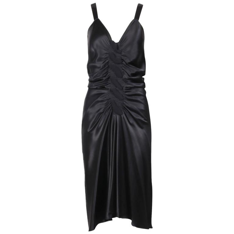 John Galliano Black Bias Cut Ruched Cocktail Dress