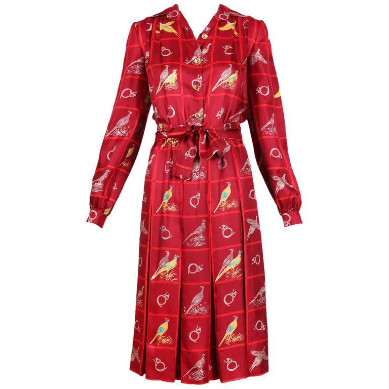 Vintage Gucci Burgundy Silk Pleated Dress W/ Pheasant & French Horn Print