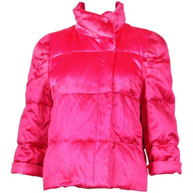 Dries Van Noten Hot Pink Silk Puffer Jacket