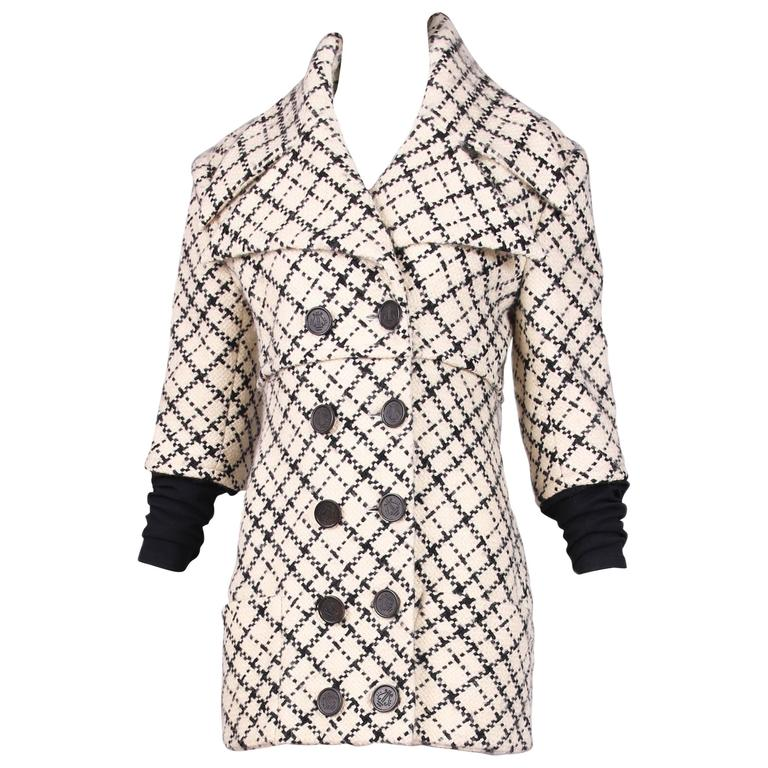 Givenchy Black White Plaid Oversized Collar Jacket with Lycra Sleeve Attachment
