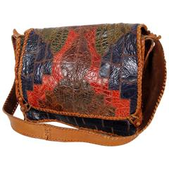 1970's Char Embossed Whipstitched Colorful Leather Bohemian Shoulder Bag Purse
