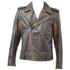 Maison Martin Margiela Dark Brown Leather Biker Jacket Faux Croc Effect