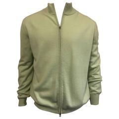 Men's Malo Cashmere Full Zipper Front Cardigan in Soft Mint