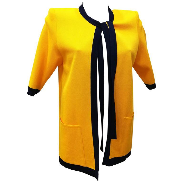 1980s Yves Saint Laurent Yellow Blu Cardigan