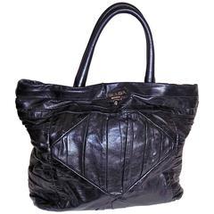 Prada Black   leather ruched large tote bag