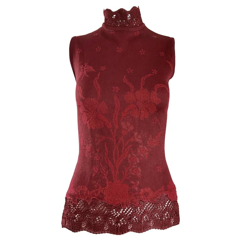 Vintage Kenzo 1990s Asian Inspired Butterfly Flower Crochet Knit Merlot Red Top